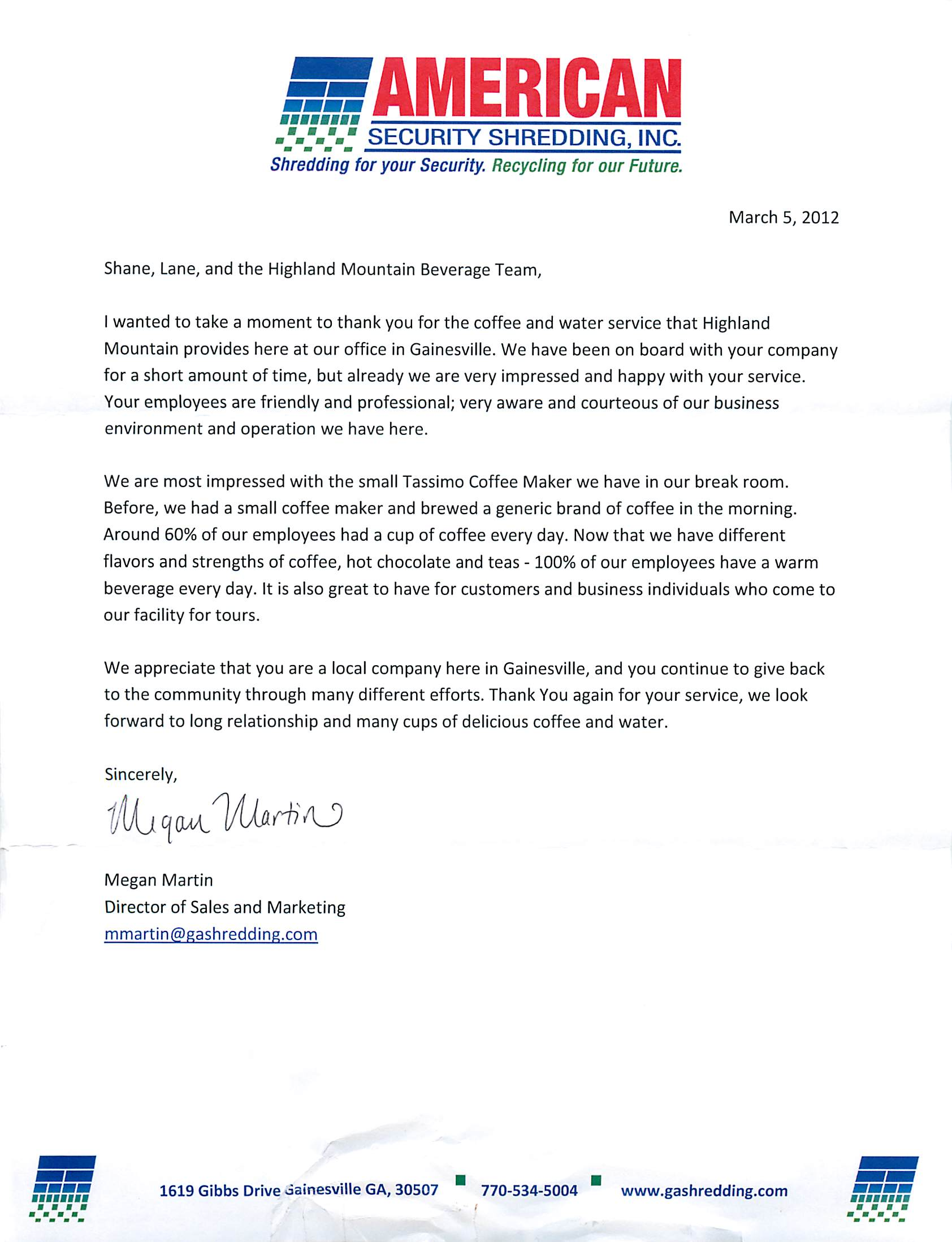 Customer Appreciation Letter  Highland Mountain Water